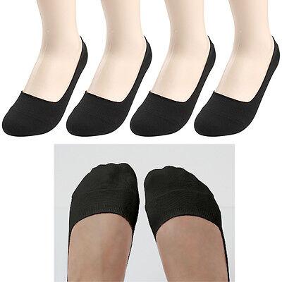 4 Pairs Lot Womens Solid Black Nonslip heels Liner No Show Cotton blend Socks