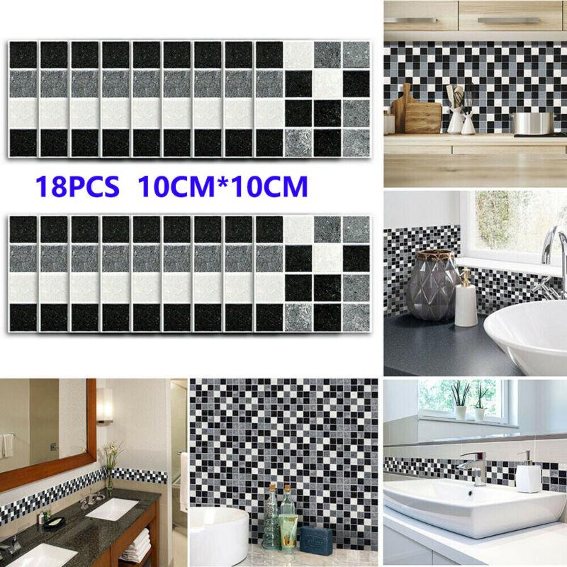 Home Decoration - 18Pcs Kitchen Tile Stickers Bathroom Mosaic Sticker Self-adhesive Wall Decor UK