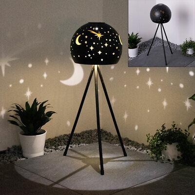 LED solar standing lamp gold black 3-leg stand lamp moon star garden ball light