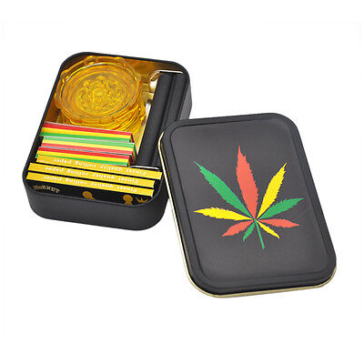 Tobacco Box Set   3 X Smoking Rolling Papers  3 X Filter Tips 1 Roller 1 Grinder
