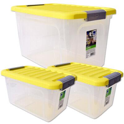 3 Stk. Aufbewahrungsbox Aufbewahrungsbehälter Deckel Klickverschluss 5L 15L Klar