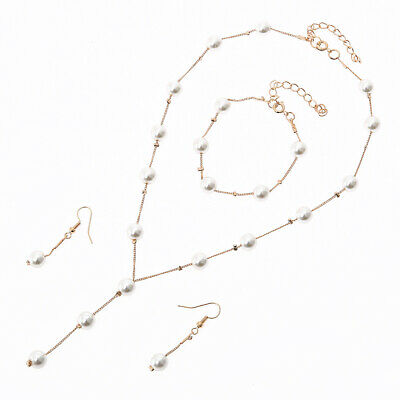 Pearl & Crystal Necklace Bracelet Earrings Set Ladies Girls Gift Bridesmaid ()