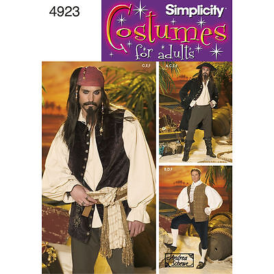 PATTERN for Pirate Captain Jack Sparrow costume L XL 42-48 Simplicity 4923 Jamie](Pirate Costume For Males)