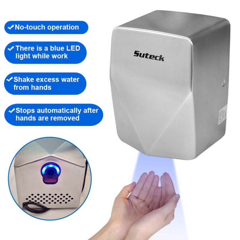 Hand Dryer 1350W Electric Stainless Steel Commercial and Household Auto