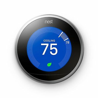 NEW Nest Learning Thermostat 3RD GENERATION T3007ES in Stainless Steel!