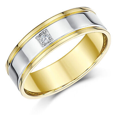 18ct Two Colour Gold Ring Diamond Wedding Ring 6mm - 18 Ct Two Colour