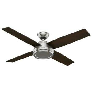 NEW Hunter Fan Company 59249 Contemporary Dempsey Brushed Nickel Ceiling Fan