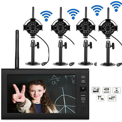 2.4GHz 4CH Wireless DVR Security System HD Video Recorder Monitor 4 Ircut Camera