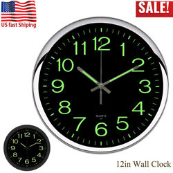 Modern 12in Super Quartz Round Wall Clock With-ticking Silent Bedroom Home Decor