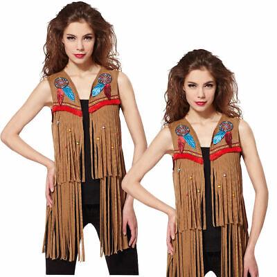Damen Indian Hippie Weste Native Wild West American Cowboys - Wild West Kostüm Indianer