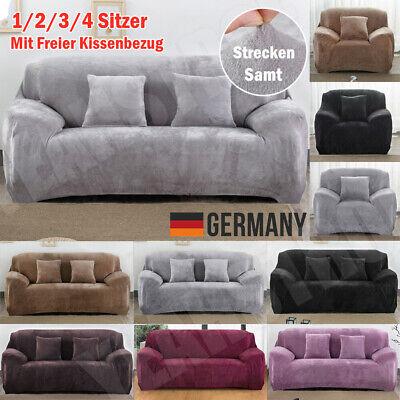 1/2/3/4 Sitzer Sofa Überwürfe Sofabezug Stretch Sofahusse Sofa Abdeckung Samt DE