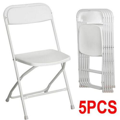 New Hot Set Of 5 Commercial White Plastic Folding Chairs Sta