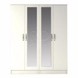 Classic 4 door double mirrored warrobe white finish