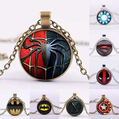 Vintage Superhero Batman Superman Cabochon Iron Man Glass Chain Pendant Necklace