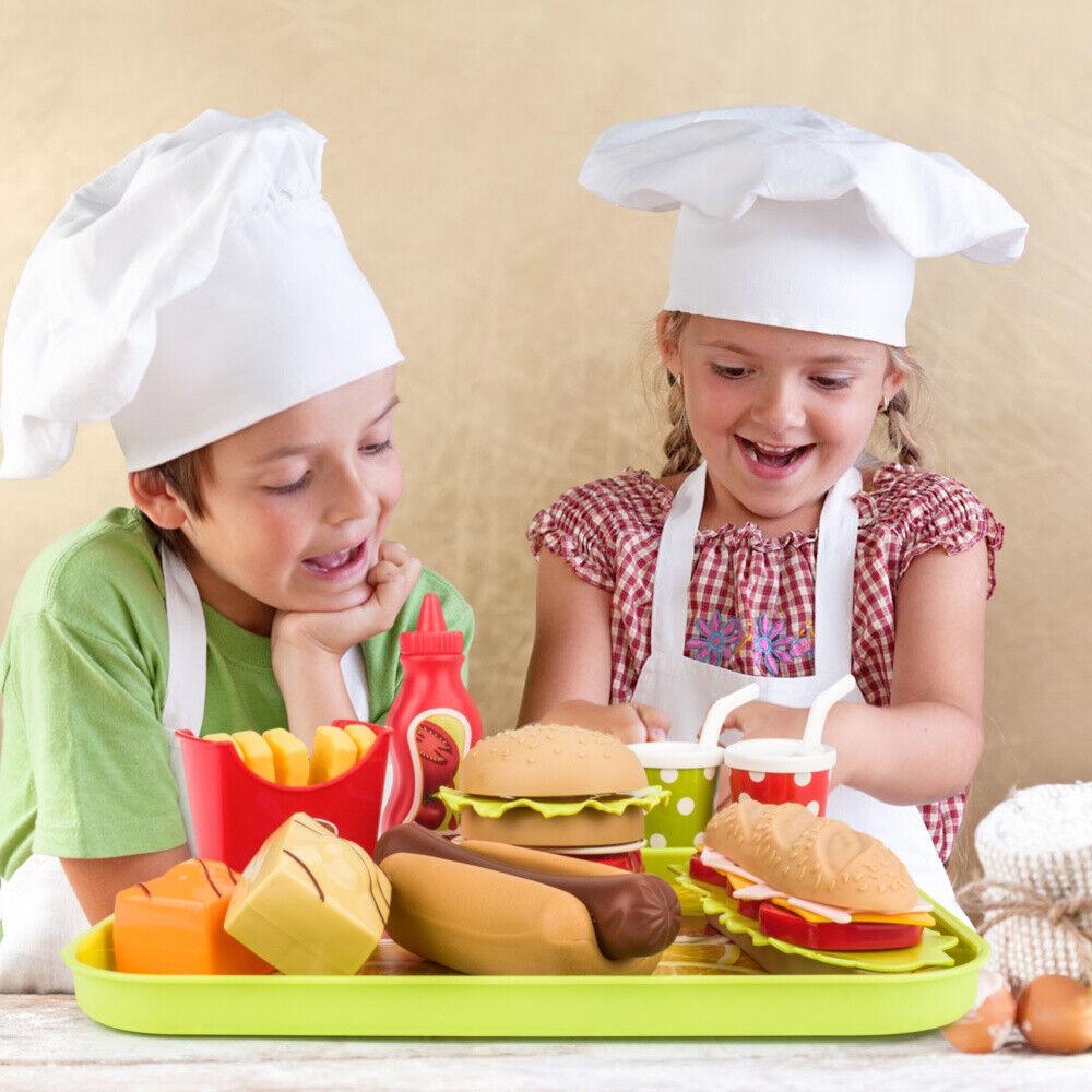 9 pcs Pretend Play Kitchen Set for Kids Home Food Burger Com