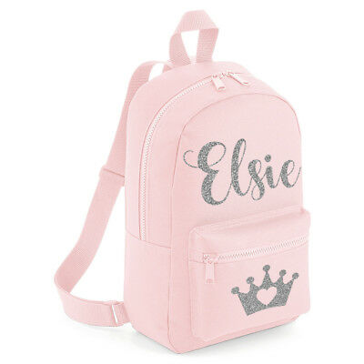 Personalised Crown Kids Backpack Any Name Tiara Girls Back To School Bag #MBPT