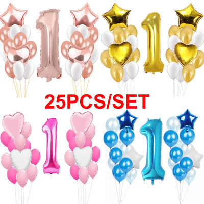 First 1st Birthday Number 1 Boy Girl Foil Latex Balloons Baby Party Decoration - First Birthday Balloon