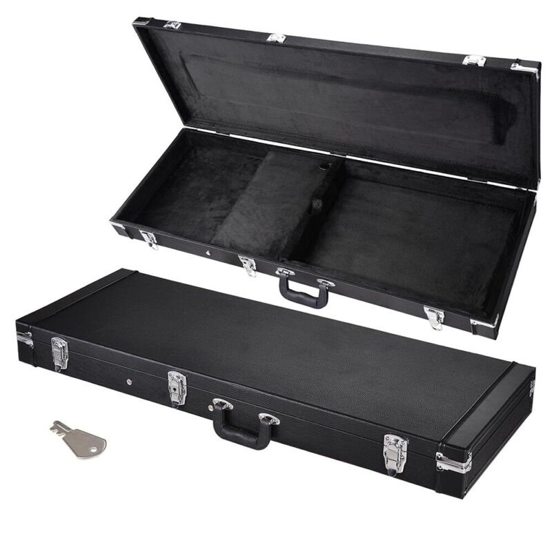 """Portable Electric Bass Guitar Square Carrying Case 41"""" Lockable Wooden"""