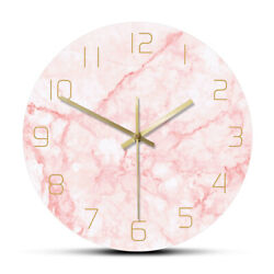 Natural Pink Marble Round Wall Clock Silent Non Ticking Watch Living Room Decor