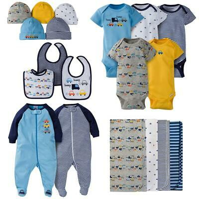 Gerber Baby Boys 19 Piece Clothing, Bibs, Blankets Gift Set, Cars, 0-3M
