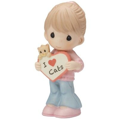 Precious Moments I Love Cats figurine 2015 little girl with sign 154046 NIB