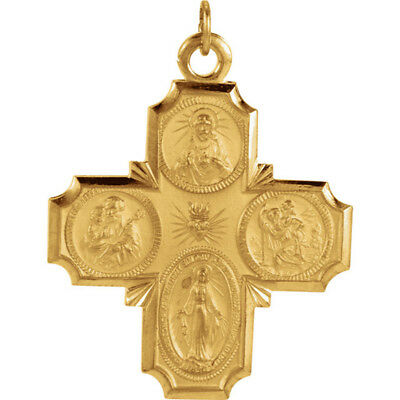 14Kt Solid Yellow Gold 30x29mm Four-Way Cross