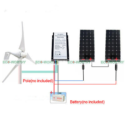 400W 24V Dc Wind Turbine Energy Generator   2X 160W Mono Solar Panel For Farm
