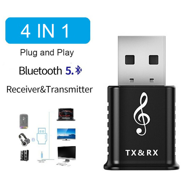 4 IN 1 USB Bluetooth 5.0  Adapter for TV PC Car AUX Stereo D