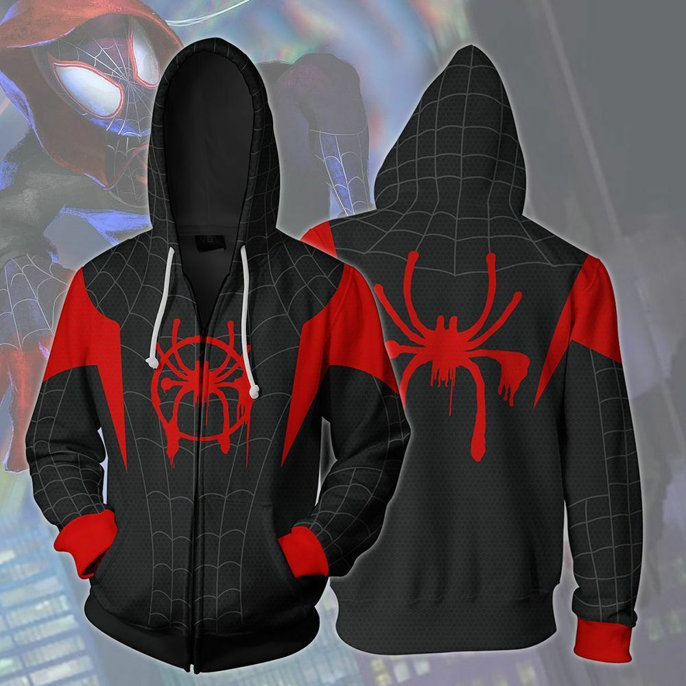 Into the Spider-Verse Miles Morales Spiderman Jacket Costume Hoodie Sweatshirt Clothing, Shoes & Accessories