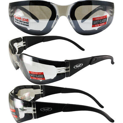 2 RIDER PADDED MOTORCYCLE RIDING GLASSES DAY AND NIGHT CLEAR AND SMOKE LENS (Day And Night Motorcycle Glasses)