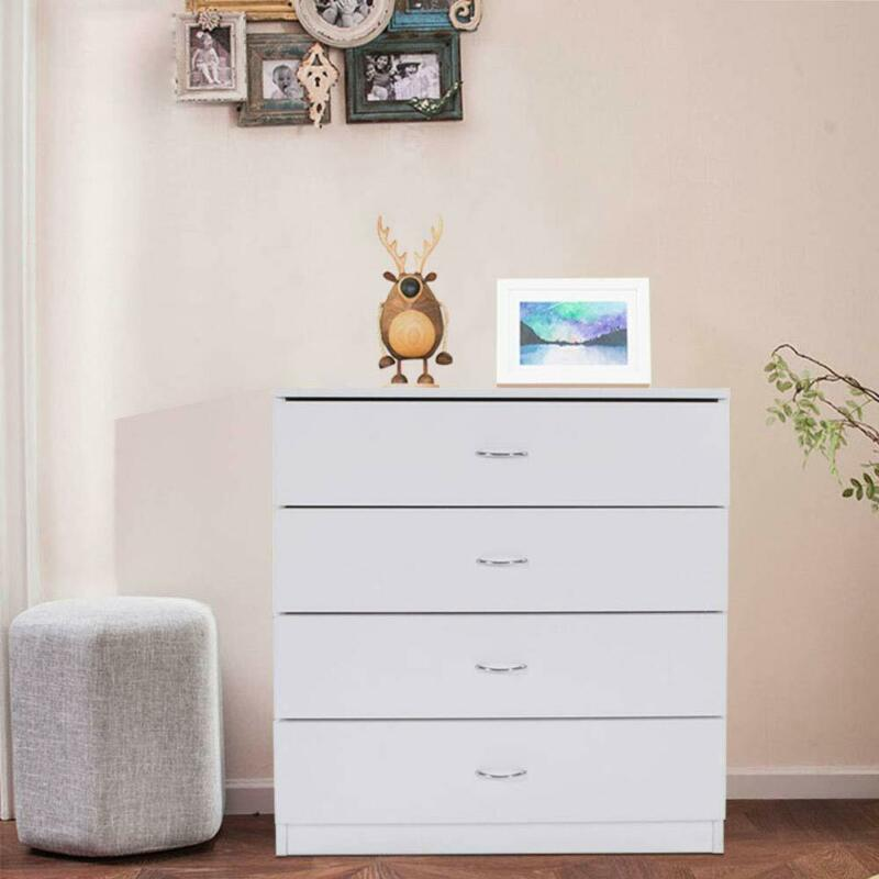 4-drawer Dresser Bedroom Storage Bedside Nightstand Chest Of Drawers White