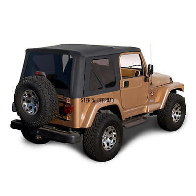 - Jeep Wrangler TJ Soft top Replacement, 1997-2002, w/ Tinted Windows, Black Denim