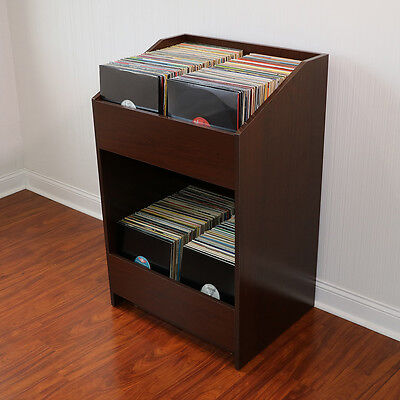 LPBIN LP Storage Cabinet in Java Cherry / Bin Style Record Storage