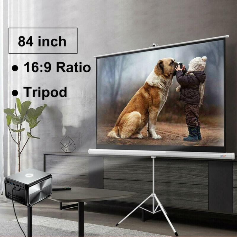 """Portable 84"""" 16:9 HD Projection Projector Screen Pull Up with Tripod Stand"""