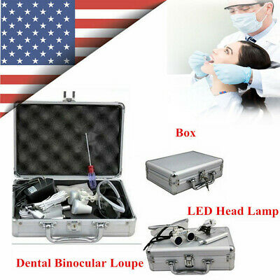 Dental Surgical Binocular Loupes 3.5x 420mm Magnifying Optical Glasses Head Lamp