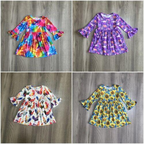 NEW Boutique Tie Dye Dinosaur Sunflower Chicken Girls Long Sleeve Dress