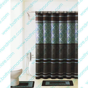 Blue and brown bath set 2 bath mat rugs shower curtain for Blue and brown bathroom sets