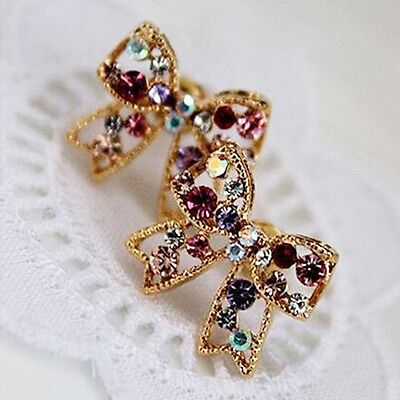 Hot Sale Stud Chic Colorful Bowknot Earrings Women Fashion Jewelry Crystal
