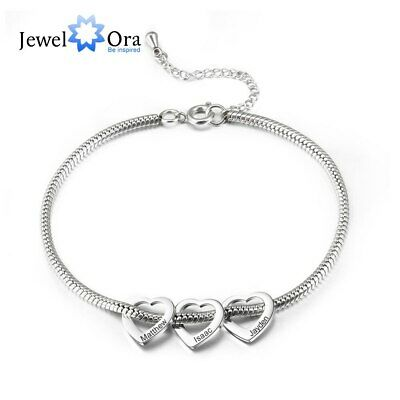 Women Bracelet Silver Love Heart Beaded Free Engrave Name Custom Bangle Mom Gift