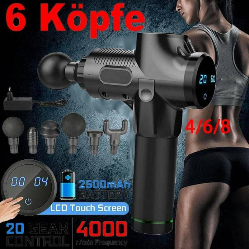 Profi Electric Massage Gun Massagepistole LCD Muscle Massagegerät mit 6/8 Köpfe