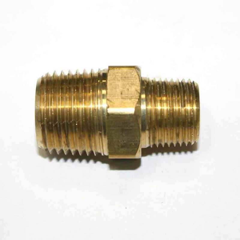 """(6) 3/8"""" x 1/2"""" NPT Male Brass Hex Nipple Reducer pipe fitting air fuel water"""