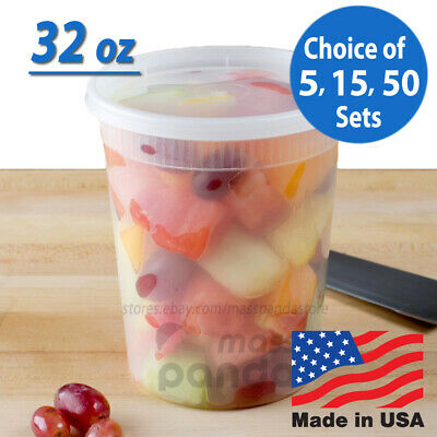 32 oz Heavy Duty Large Round Deli Food/Soup Plastic Containers w/ Lids BPA free Heavy Duty Containers