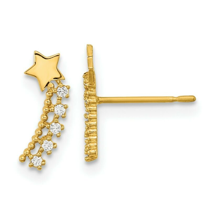 14k Yellow Gold Kids Cubic Zirconia Cz Shooting Star Post Stud Earrings
