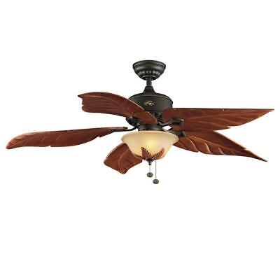 Antigua Plus 56 in. LED Indoor Oil Rubbed Bronze Ceiling Fan Palm with Light Kit Oil Rubbed Bronze Fan Light