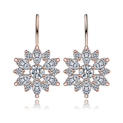 Women Crystal sun flower diamond Rhinestone Drop Ear Stud Earrings Party Jewelry Diamond Flower Drop Earrings