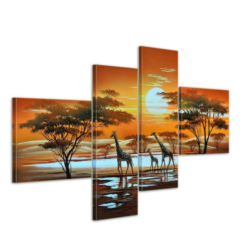 Giraffe+Afrika+M3+-+Leinwandbild+4+teilig+100x70cm+Handgemalt