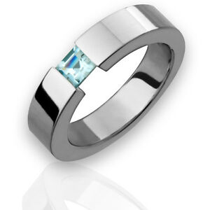 Titanium ring w tension set aquamarine birthstone wedding band ebay