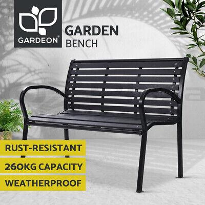 Garden Furniture - Gardeon Outdoor Furniture Garden Bench Seat Chairs Steel Lounge Patio Park Black