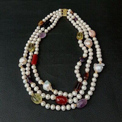 3 rows Cultured White Pearl Keshi Pearl Multi Gemstone Necklace 19