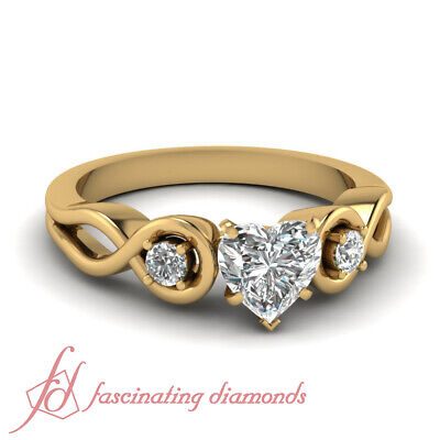 3 Stone Infinity Diamond Engagement Ring With Heart Shaped GIA Certified 0.65 Ct